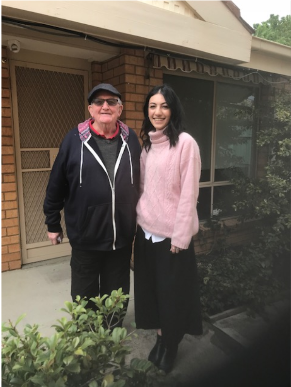 Jimmy and housing support worker Nese at his new home